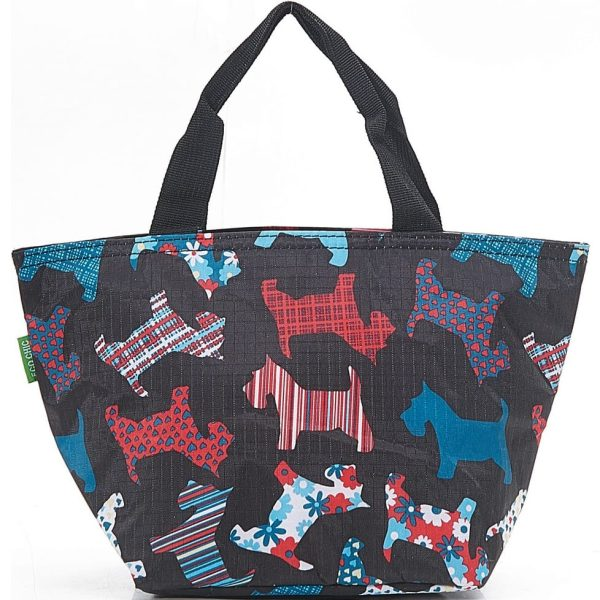 Black Floral Scotty Dog Lunch Bag