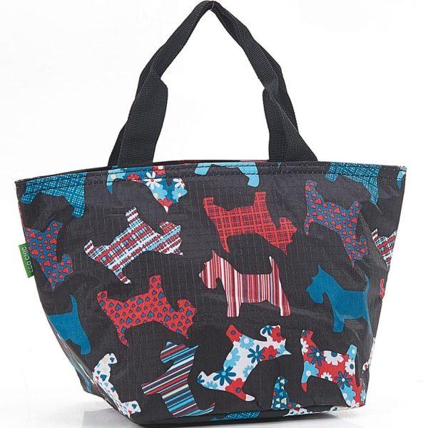 Black Floral Scotty Dog Lunch Bag