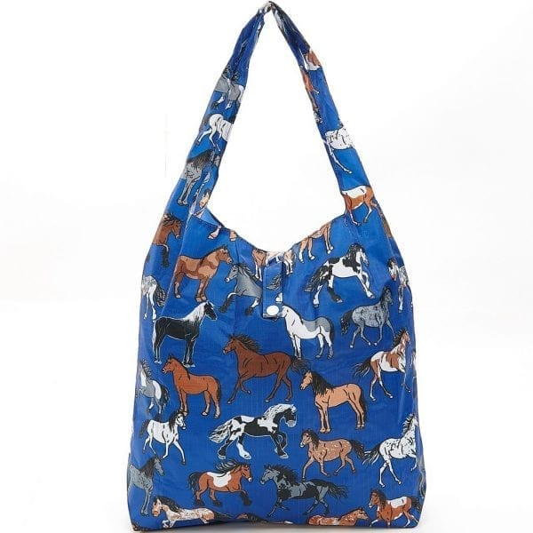 Blue Country Horses Foldaway Shopper