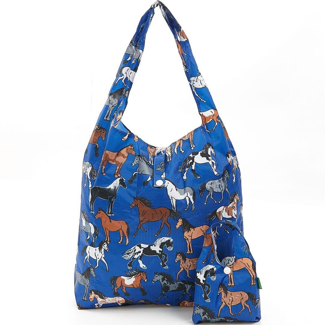 Blue Country Horses Foldaway Shopper