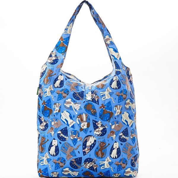 Blue Raining Cats & Dogs Foldaway Shopper