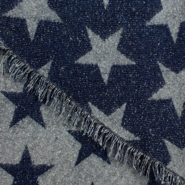 Blue and Grey Reversible Star Scarf
