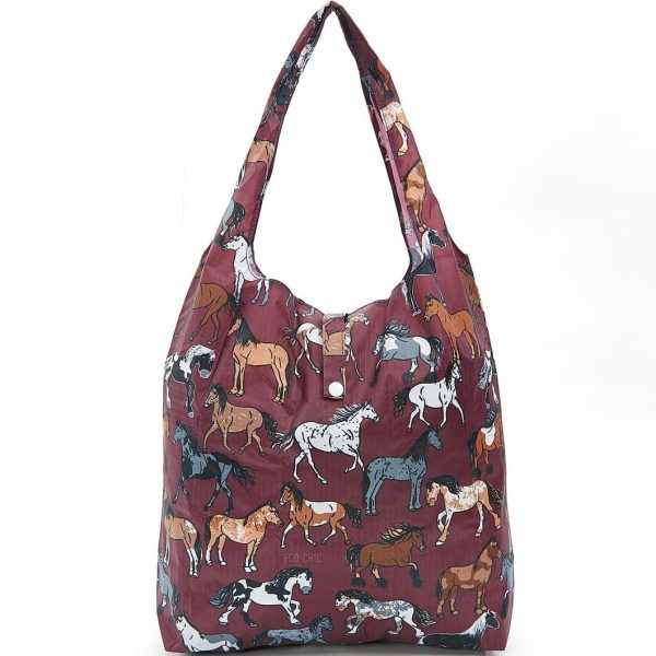 Burgundy Country Horses Foldaway Shopper