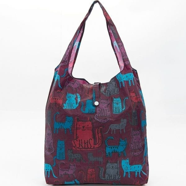 Burgundy Funky Cats Foldaway Shopper