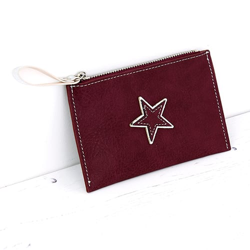 Burgundy Star Card Holder Purse