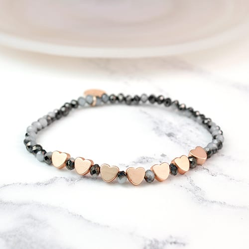 Dark Crystal Bead & Rose Gold Bracelet