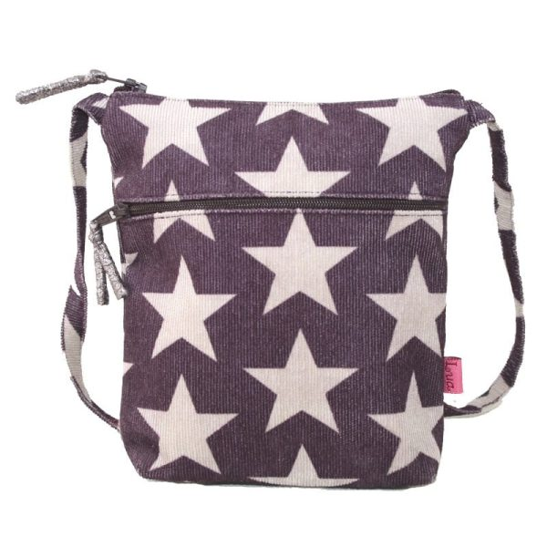 Dark Plum Stars Cross Body Pouch Purse