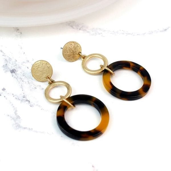 Gold Plated Large Tortoise Shell Hoops Earrings