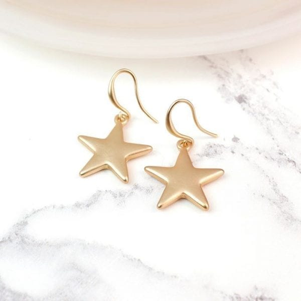 Gold Plated Star Drop Earrings with a Matt Finish