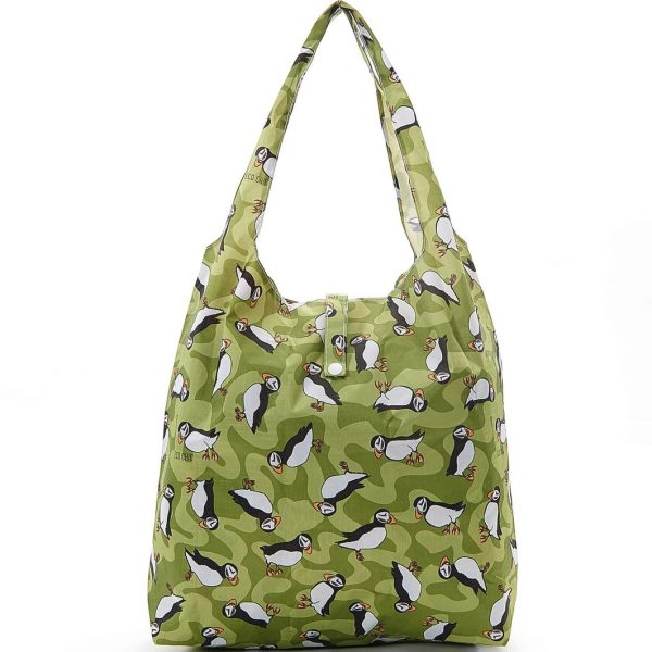 Green Puffin Foldaway Shopper