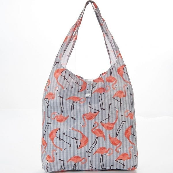 Grey Flamingo Foldaway Shopper