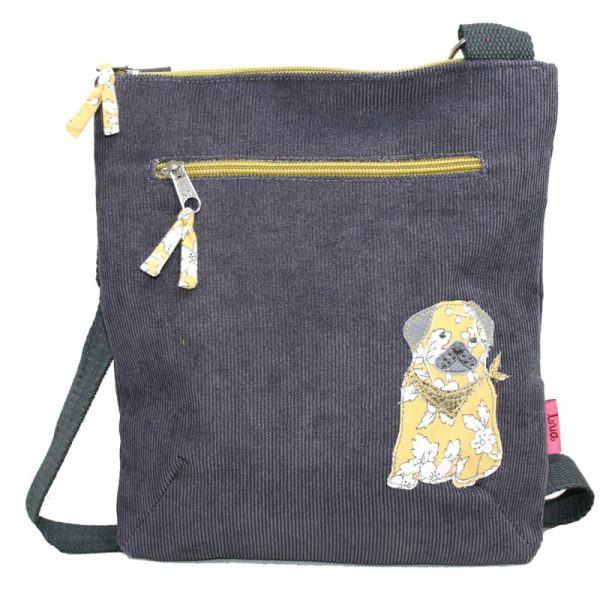 Grey Pug Cross Body Bag