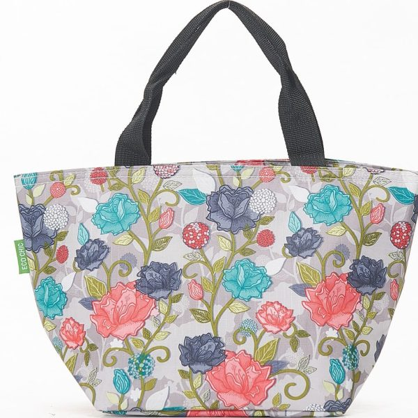 Grey Rose Print Lunch Bag