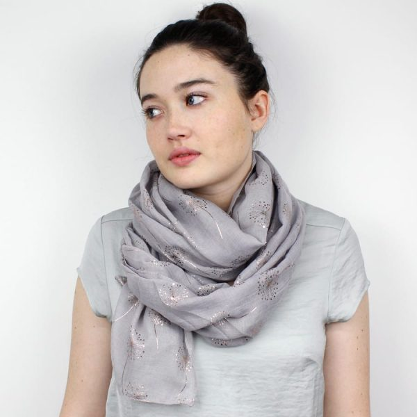 Grey With Rose Gold Metallic Dandelions Scarf