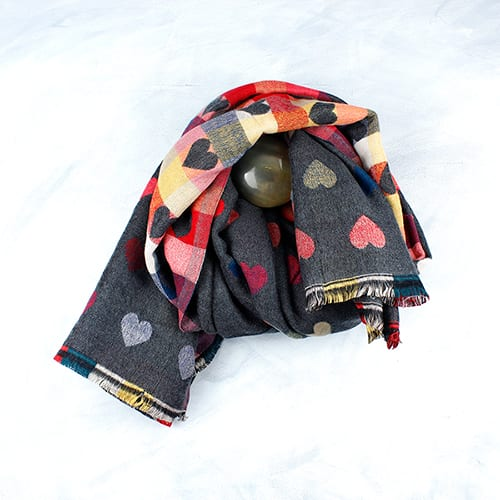 Light Grey and Multi Coloured Reversible Heart Scarf