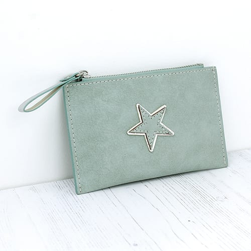 Mint Green Star Card Holder Purse