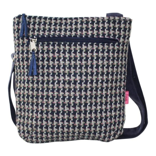 Navy Dogtooth Messenger Bag