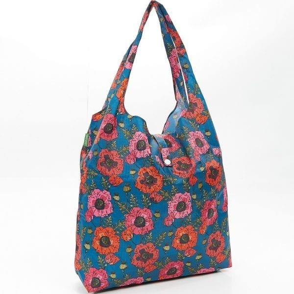 Navy Poppies Foldaway Shopper