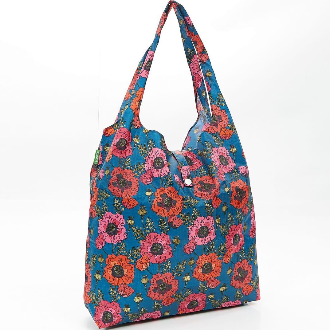 Navy Poppies Foldaway Shopper