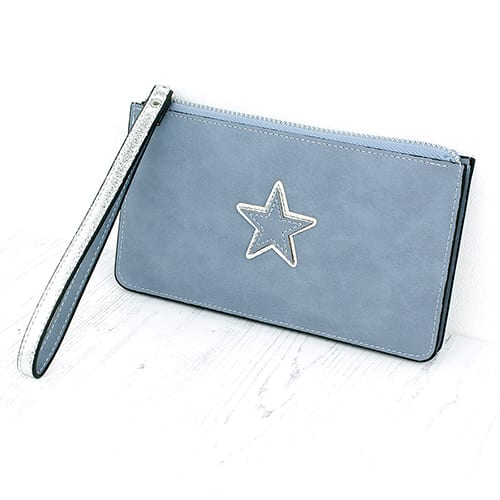 Pale Blue Star Double Purse
