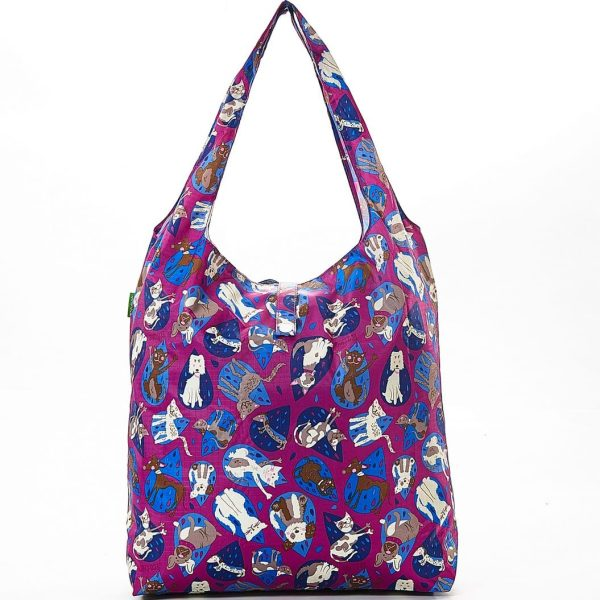Purple Raining Cats & Dogs Foldaway Shopper