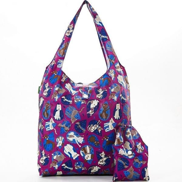 Purple Raining Cats & Dogs Foldaway Shopper