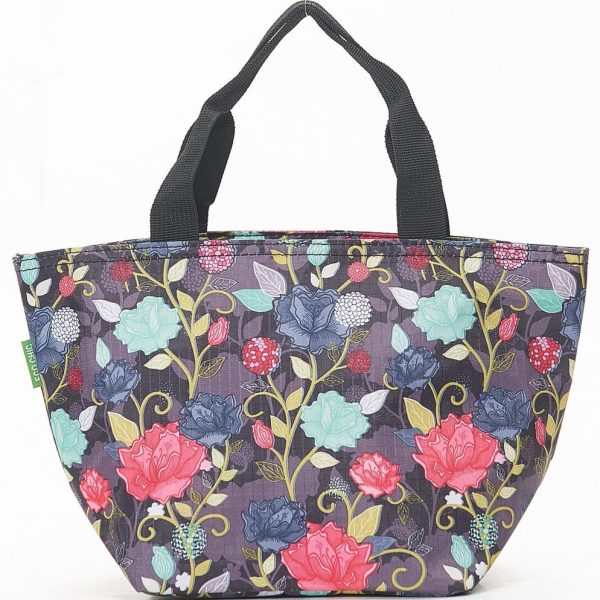 Purple Rose Print Lunch Bag