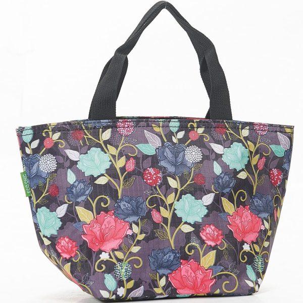 Purple Rose Print Lunch Bag