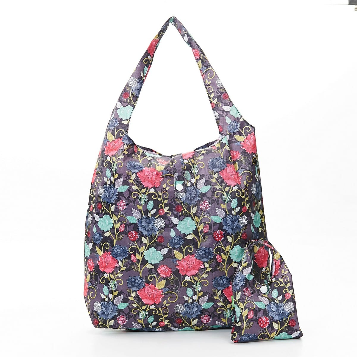 Purple Roses Foldaway Shopper
