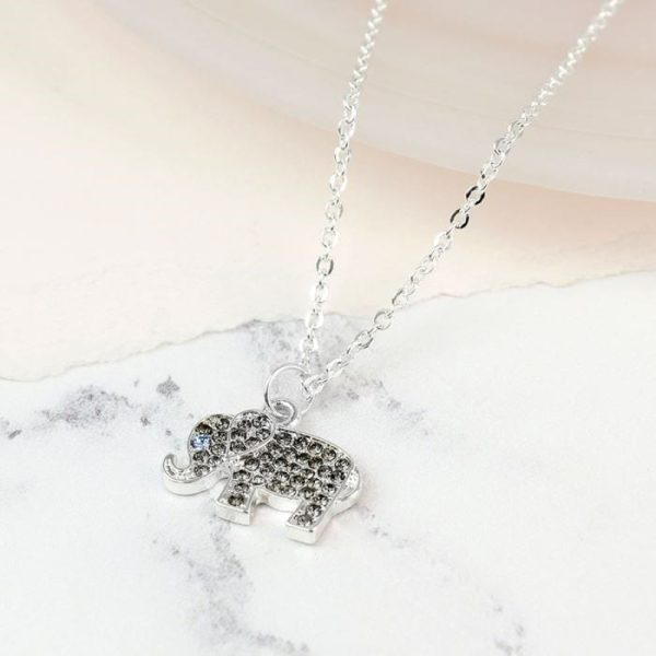 Silver Plated Elephant Necklace with Crystals