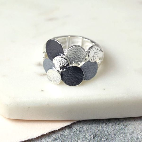 Stretch Ring with Grey and Silver Plated Discs