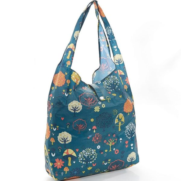 Teal Forest Foldaway Shopper
