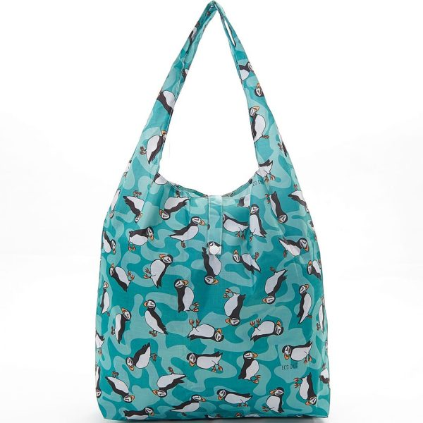 Teal Puffin Foldaway Shopper