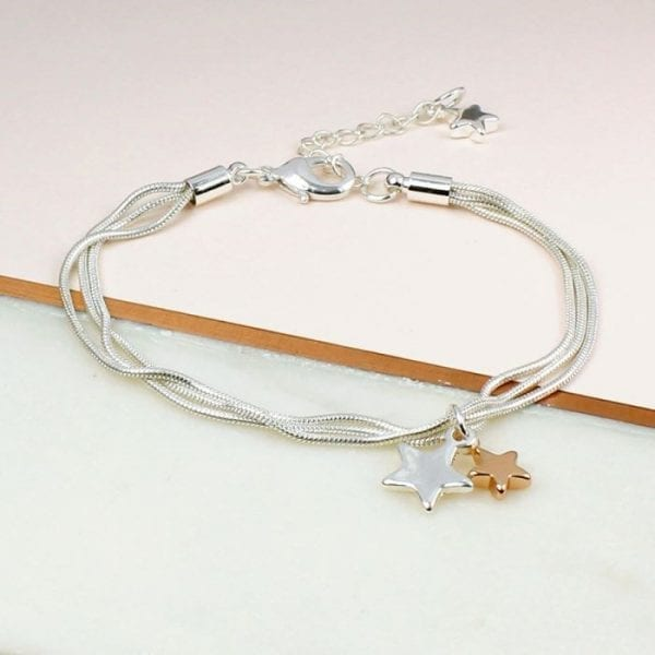 Triple Strand Chain Bracelet with Stars