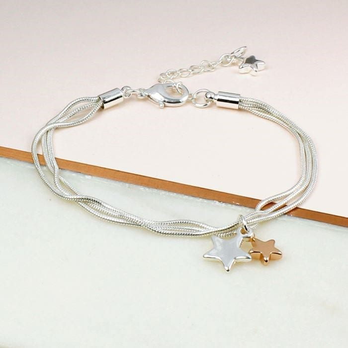 Triple Strand Chain Bracelet with Stars