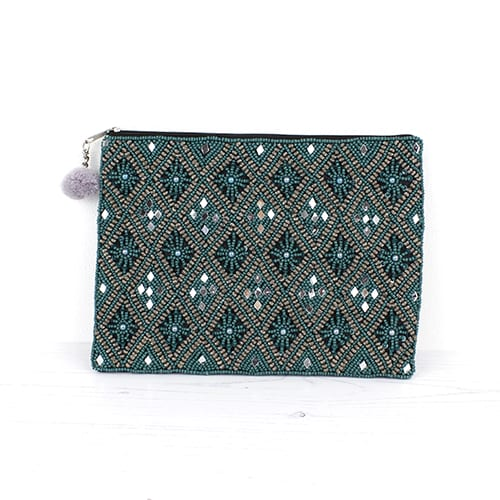 Turquoise & Gold Diamond Beaded Purse