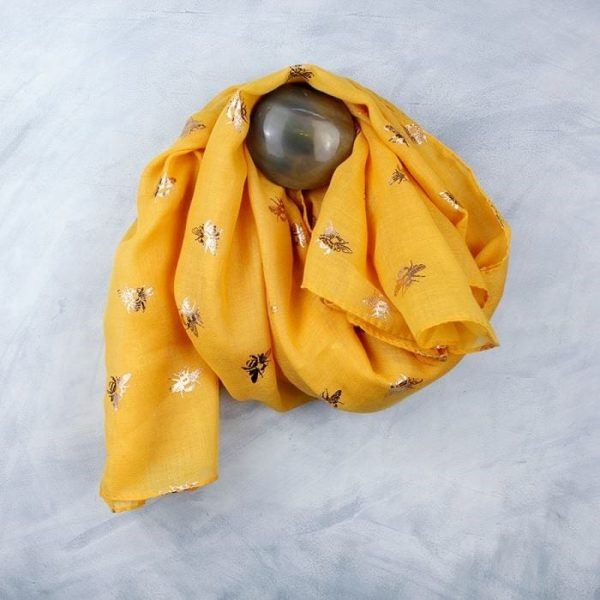 Vibrant Yellow With Rose Gold Bee Print Scarf