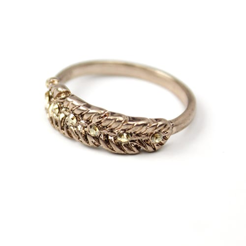 Washed Bronze Feather Ring