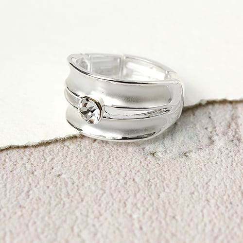 White Enamel Crystal Ring