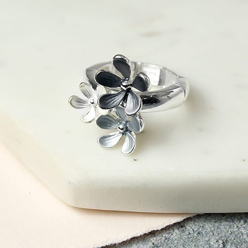 White Enamel Floral Trio Ring