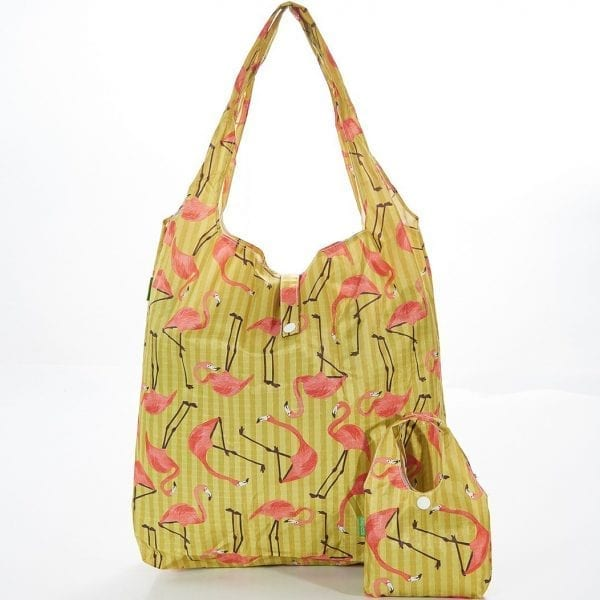 Yellow Flamingo Foldaway Shopper