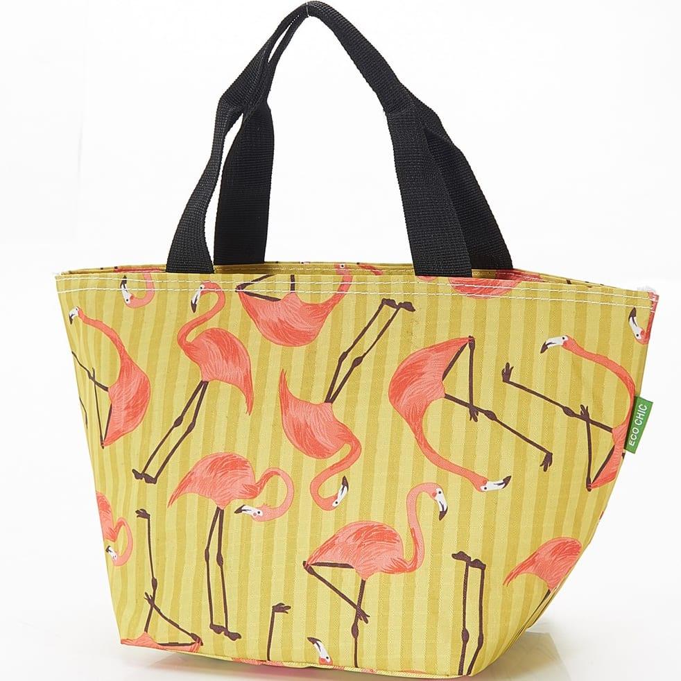 Yellow Flamingos Lunch Bag
