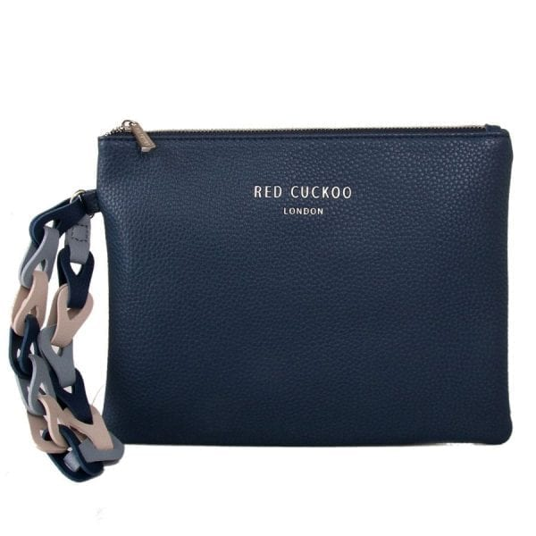 Blue Clutch Bag With Contrast Wrist Strap