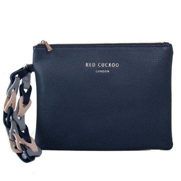 Blue Clutch Bag With Contrast Wrist Strap
