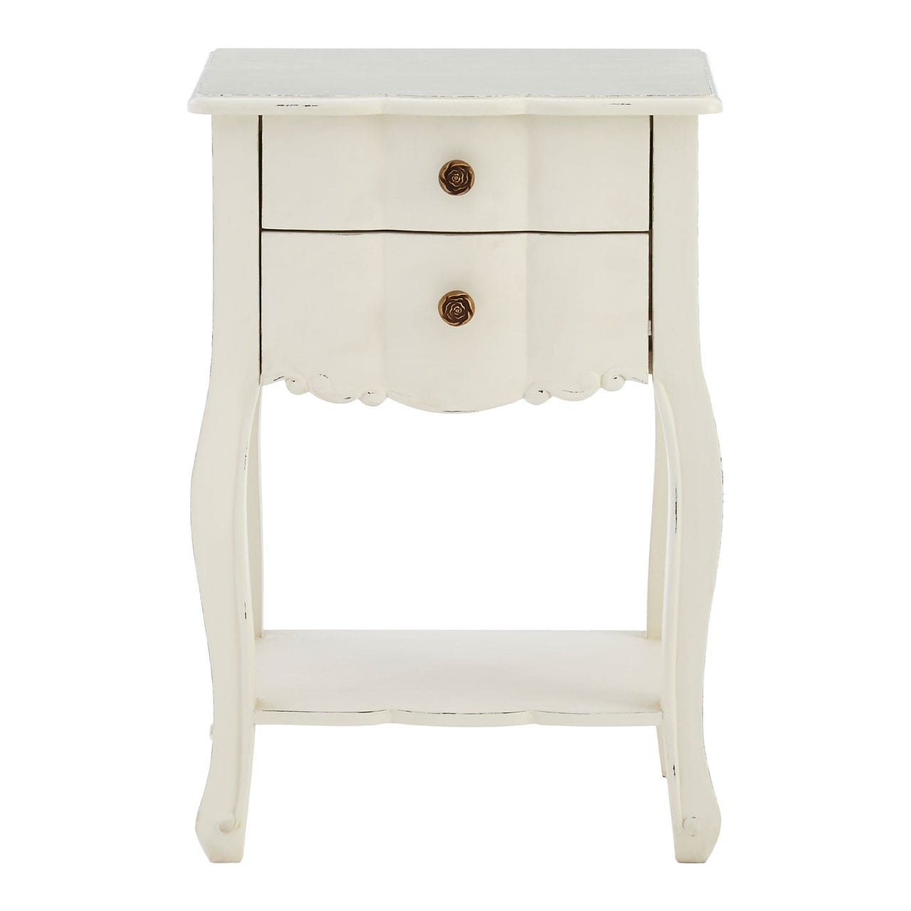 Bourges 2 Drawer White Bedside Table