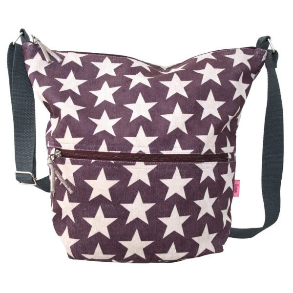 Dark Plum Stars Cross Body Slouch Bag
