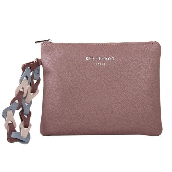Dusky Purple Clutch Bag With Contrast Wrist Strap