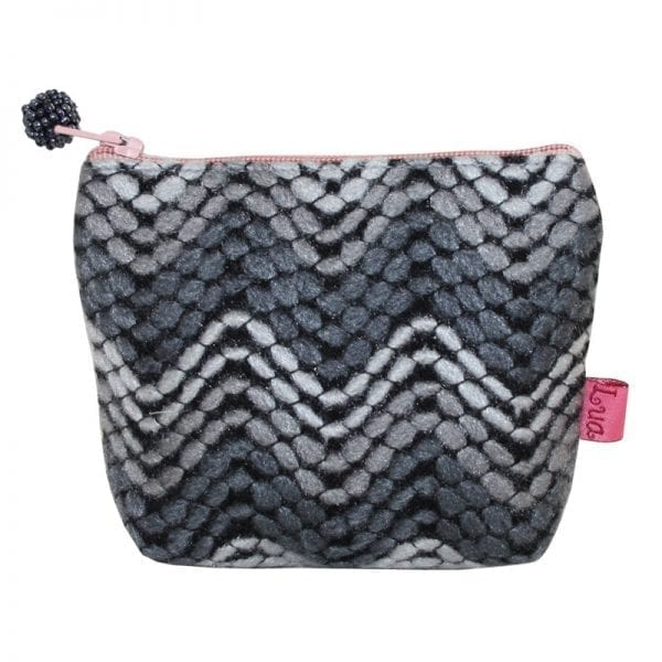 Grey Chevron Mini Zip Purse
