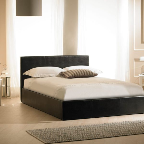 Madrid Faux Leather Ottoman Bed Black