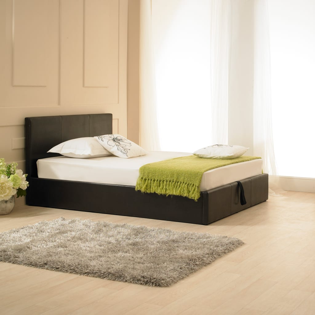 Madrid Faux Leather Ottoman Bed Brown